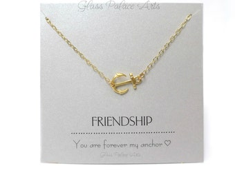 Anchor Necklace Gold, Best Friend Gift, Best Friend Necklace, Silver Anchor Friendship Necklace, Inspirational Jewelry, Personalized Note