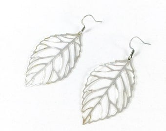 Silver Leaf Earrings, Nature Earrings, Everyday Dangle Earrings, Minimalist Jewelry, Earthy Jewelry, Gifts for Her, Autumn Fall Leaves