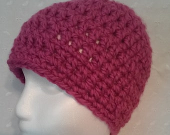 Pink Crochet Hat, Pink Crochet Beanie, Pink, Warm, Bright, Soft, Acrylic,Womens, Gift for Her