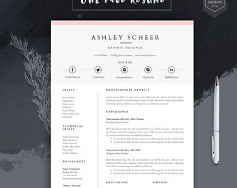 Professional Resume Template, Resume Template For Word, Cv Template With  FREE Cover Letter,  Free Word Resume Templates