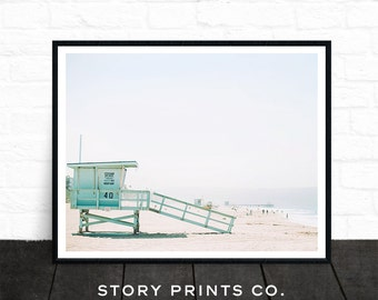 Beach Print, Beach Decor, Wall Art Photo Prints, Beach Printable Art, Lifeguard Tower, Beach Life, Beach Photography, Coastal, Summer Decor