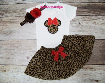 Minnie Mouse Outfit / Onesie or Shirt + Skirt / Red & Cheetah / Leopard / Birthday / Cake Smash / Infant / Baby / Girl / Toddler / Boutique