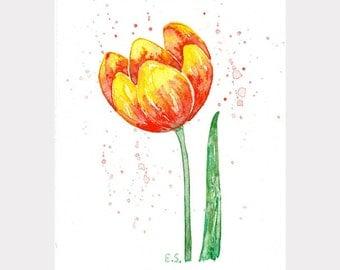 Floral watercolor Tulip Original watercolor painting Wall decor Flower art spring botanical art Scarlet red yellow green
