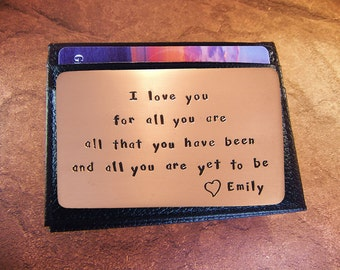 Engagement Gift, Rustic Copper, Wallet Insert, Hand Stamped, Love Card, Gift Idea For Men