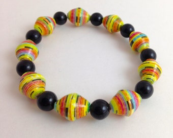 Paper Bead Bracelet - Eco Friendly - Upcycled Jewelry