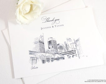 Atlanta Skyline Wedding Thank You Cards, Personal Note Cards, Bridal Shower Thank you Cards (set of 25 cards)