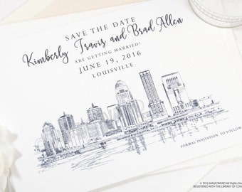Louisville Skyline Save the Dates, Louisville Save the Date, Kentucky Wedding, Louisville Save the Date Cards, STD (set of 25 cards)