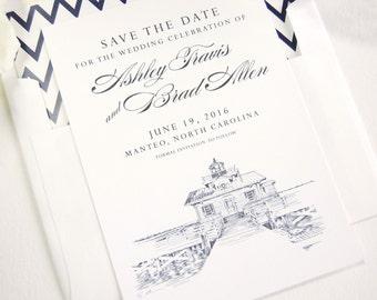 North Carolina Roanoke Marshes Lighthouse in Manteo Skyline Wedding Save the Dates (set of 25 cards)
