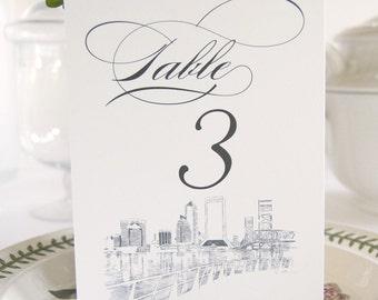 Jacksonville Skyline Table Numbers (1-10)