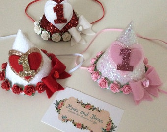 Glitter Birthday Party Hat Heart & Rose Hat. Choice of colours and sizes and ages 1st, 2nd birthday etc.