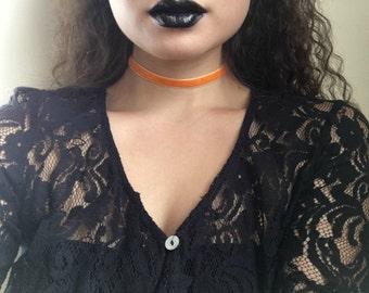 Pumpkin Orange Velvet Choker
