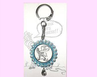 I THINK It's STRESS Keyring Keychain Key Ring Chain You Choose Colours Bottlecap Funny Zebra Stripes Cartoon
