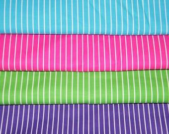 4 FQ Bundle – VIVID Jeweltone STRIPE Prints 100% Cotton Quilt Craft Fabric Fat Quarters