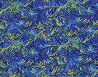 32 Inches BOTANICA III Blue, Green, Yellow Royal Story Marble Print 100% Cotton Quilt Crafting Henry Glass Fabric by the PIECE