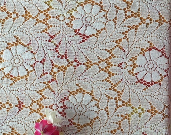Vintage 1940 lace curtain white pure cotton Floral design 2 yard 30 by 49 Excellent condition For home decor bridal clothing craft accessory