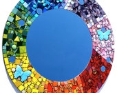 Large Rainbow Mirror, Butterfly Mosaic Art, Colorful Boho Hippie Home Decor, Stained Glass Round Mirror