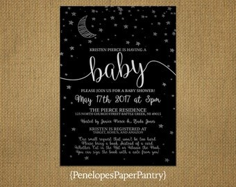 Elegant Moon and Stars Baby Shower Invitation,Gender Neutral,Crescent Moon,Stars,Black,Silver,Shimmery,Book Poem,Custom,Printed Invitation