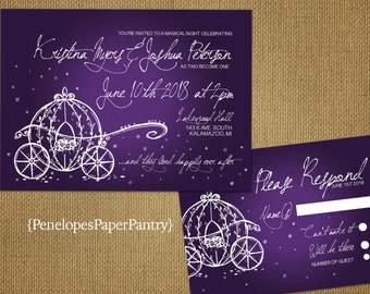 Fairy Tale Theme Wedding Invitations,Cinderella's Carriage,Purple,Shimmery,Elegant,Romantic,Simple,Opt RSVP,Customizable,White Envelopes