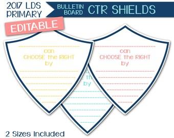 Bulletin Board CTR Shields - LDS Primary 2017 Editable PRINTABLE Choose the Right Sign Spotlight Sharing Time Room Decor Program Prep P007