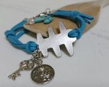 SALE, Teal Bracelet, The Talons of The Eagle Bracelet, Charm Bracelet, African Symbol for  Strength, Bravery and Power, Good Mood Bracelet