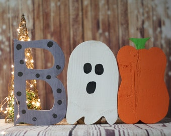 Boo Wall Hanging, Rustic Halloween Decor, Halloween Decorations, Haunted House Decorations, Reclaimed Wood, Ghost, Pumpkin, Painted Letters