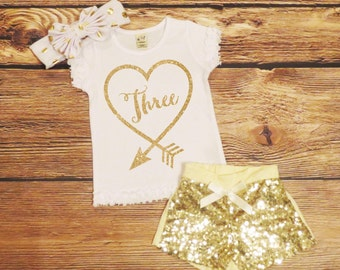 Third Birthday Shirt *ONLY* Toddler Girl Gold Glitter Birthday Top Little Girls Gold Sparkle Top Three Years Old 3rd Birthday Shirt Birthday