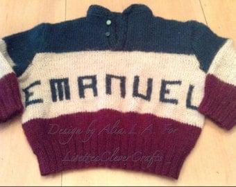 Hand knitted sweaters for boys and girls with their names