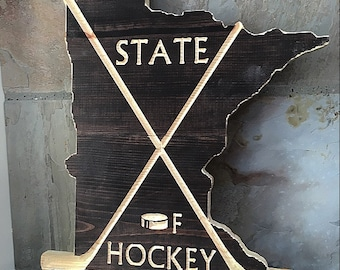 Minnesota State of Hockey Wall Wood Decor (Medium)