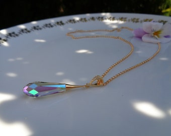 Gold chain with drop pendant, 585 silver and crystal glass, wonderful sparkling