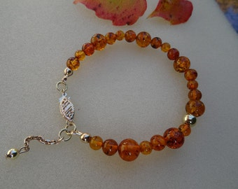 Elegant bracelet in gold 585 (14 K) with amber!