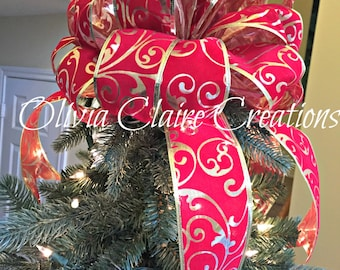 Red Velvet on Gold Leme Christmas Tree Topper or Holiday Wreath Bow, Staircase, Balcony, Fireplace Mantle Deor or use as Table or Accent.