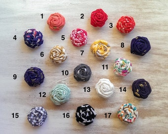 "You Choose: Small Handmade Fabric Flower Rosette Hair Clip 1 1/4"" - set of 2"