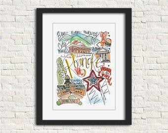 Roanoke, Virginia Handlettered Watercolor Wall Art Illustration Print // 8x10