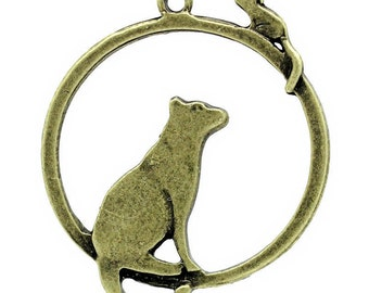 Charms - Bronze Charms - Bronze Cat and Mouse Charm - Pendants - Pack of 12 Pieces - Cat Charms For Jewelry - Great For Cat Lovers - CH-B004