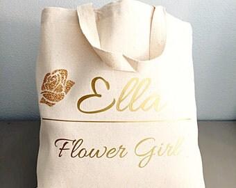Flower girl gift- Glitter Flower - Flower girl - Natural Tote