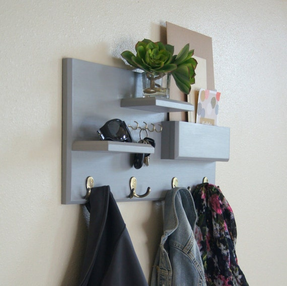 floating shelf mail storage coat hooks and by midnightwoodworks. Black Bedroom Furniture Sets. Home Design Ideas