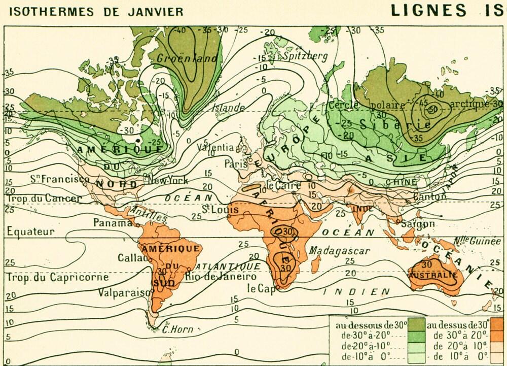 1897 carte du climat grand format isothermes isobares. Black Bedroom Furniture Sets. Home Design Ideas