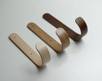 wooden hook, wooden hook, curved wooden coat rack , coat rack bent plywood