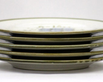 """John B. Taylor - Louisville, Kentucky Set of 5 Hand Painted / Hand Thrown Stoneware Salad Plates in """"Vintage"""" Grapes Pattern"""