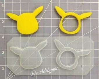 ON SALE Pika Pika heads flexible plastic resin mold set (MoldsbyMia exclusive) flexible plastic resin mold 2 pc