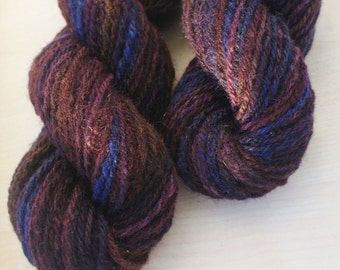 2 mini-skeins of Handspun blue Yarn worsted