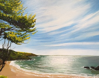 Original acrylic painting. Caswell Sunshine.  Free UK delivery.