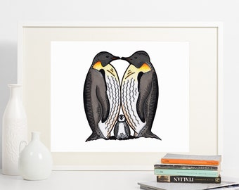 Penguin print. A perfect print of Kissing penguins with baby penguin.Family of penguins print great for a nursery room, kids room, christmas