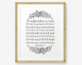 Bible Verse Printable, Ecclesiastes 3:1-4, Scripture Print, Christian Wall Art, Home Decor, Bible Quote, Scripture Art, Inspirational Art