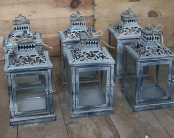 Set of 6 Small Rustic lanterns