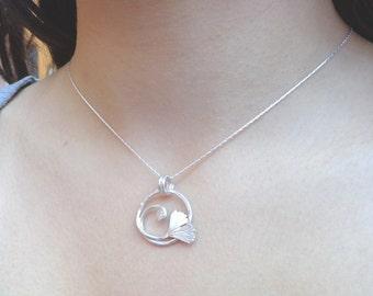Ginkgo leaf pendant, little sterling pendant, ginkgo pendant, ginkgo necklace, vintage ginkgo jewelry, elvish pendant, bridal leaf necklace
