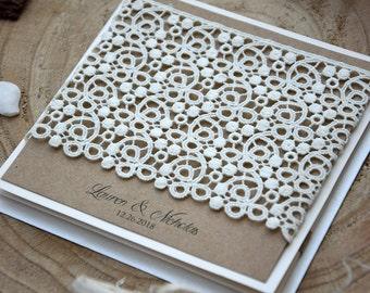 Lace Wedding Invitations, Rustic Wedding, Pocket Wedding Invitations, Wedding Invitation Kits, Rustic Country Invitations - SAMPLE