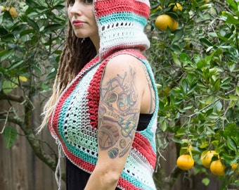 Striped Hooded Vest