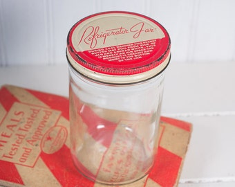 Vintage Hazel Atlas Tall Refrigerator Jar, Peanut Butter Jar, Kitchen Oranization, Office/Craft Organization