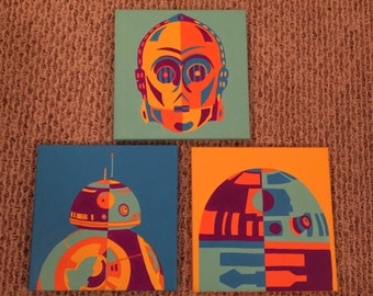 Sale Star Wars Hand Painted Bb-8 C3PO R2d2 Canvas Set of 3 12x12